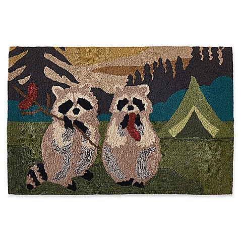 Liora Manne Camping Racoons 2'6 x 4' Handcrafted Indoor/Outdoor Accent Rug in Green at Bed Bath & Beyond in Cypress, TX | Tuggl