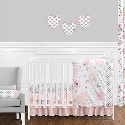 Sweet Jojo Designs Watercolor Floral Crib Bedding