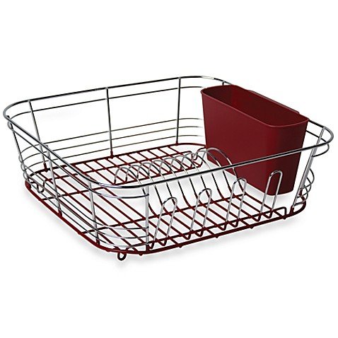 Omni Small Chrome Dipped Dish Drainer In Red Bed Bath