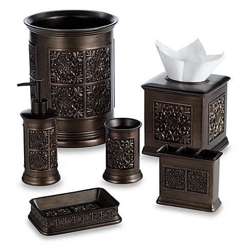 India ink imperial wastebasket in tuscan gold bed bath for Gold bathroom wastebasket