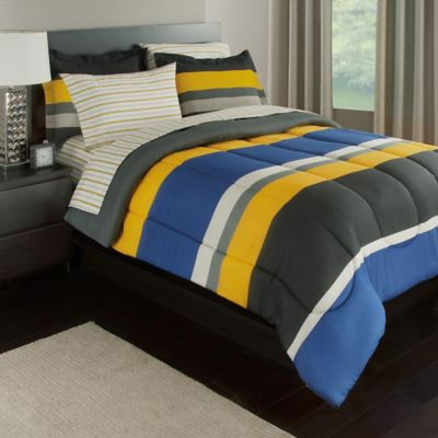 Rugby Stripe Reversible Comforter Set by Bed Bath And Beyond