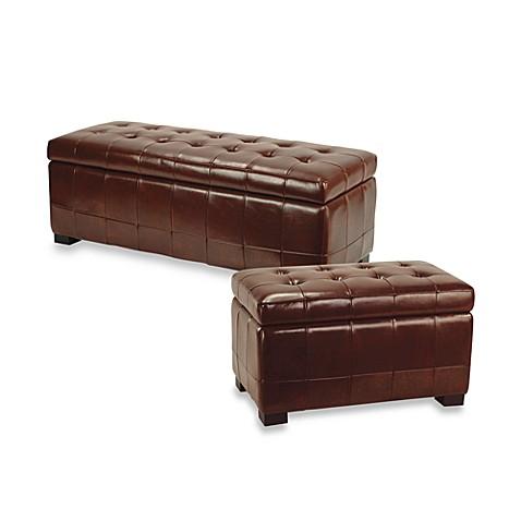 Safavieh Hudson Leather Large Manhattan Storage Bench Bed Bath Beyond