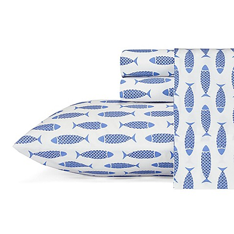Nautica® Wood Fish Twin Sheet Set in Blue at Bed Bath & Beyond in Cypress, TX | Tuggl
