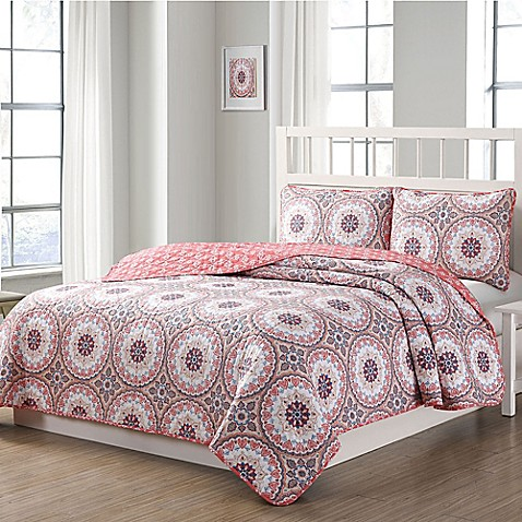 Quaint Home Darma Reversible Quilt Set in Pink at Bed Bath & Beyond in Cypress, TX | Tuggl