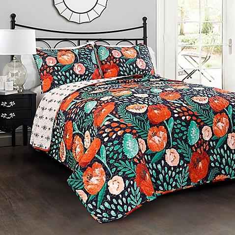 Lush Decor Poppy Garden Reversible Quilt Set at Bed Bath & Beyond in Cypress, TX | Tuggl