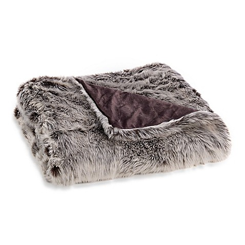 Faux Fur Throw Blanket in Grey   Tuggl