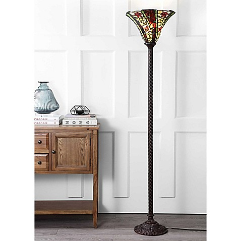 "JONATHAN Y Williams Tiffany-Style 71"" Torchiere Floor Lamp in Bronze 