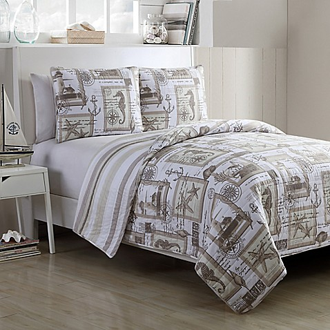 VCNY Home Nautical Cabana Reversible Full/Queen Quilt Set in Taupe at Bed Bath & Beyond in Cypress, TX | Tuggl