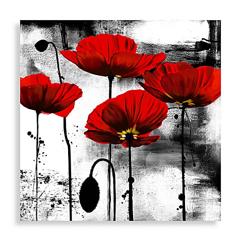 Buy line of poppies wall art from bed bath beyond for Black white red bathroom decor