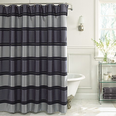 Jardin Stripe 72 Inch X 72 Inch Fabric Shower Curtain In Navy Bed Bath Amp