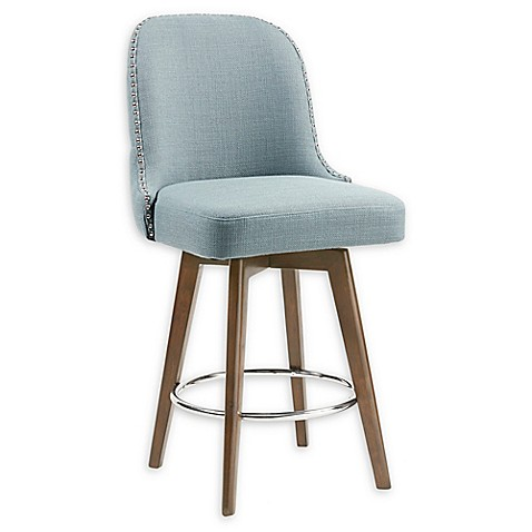 Madison Park™ Kobe Microfiber Upholstered Stool Collection in Blue at Bed Bath & Beyond in Cypress, TX   Tuggl