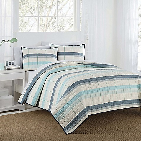 IZOD® Radford Stripe Reversible Quilt Set at Bed Bath & Beyond in Cypress, TX   Tuggl