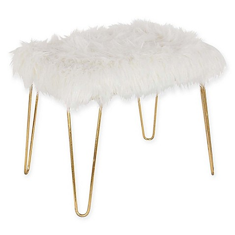 Ridge Road Decor Faux Fur Upholstered Ottoman in White/Gold at Bed Bath & Beyond in Cypress, TX   Tuggl