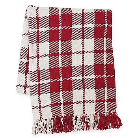 Sheridan Plaid Throw Blanket in Red   Tuggl