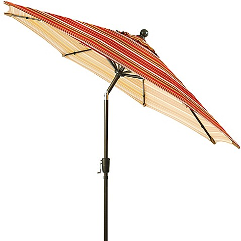 9 Foot Round Aluminum Patio Umbrella In Spice Stripe by Bed Bath And Beyond
