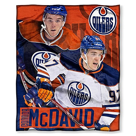 NHL Edmonton Oilers Connor McDavid Silk Touch Player Throw Blanket   Tuggl