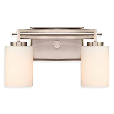 Buy Taylor 2 Light Bathroom Fixture In Antique Nickel With Opal Etched Glass Shades From Bed