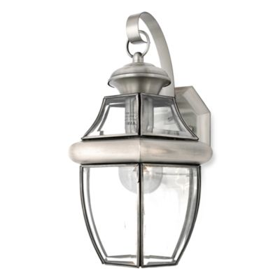Wall Lamps Bed Bath Beyond : Buy Newbury 1-Light Outdoor Wall Fixture with Pewter Finish from Bed Bath & Beyond