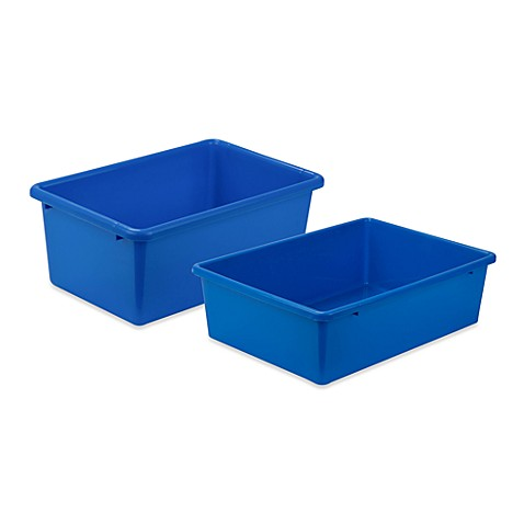 Honey Can Do Plastic Storage Bin In Blue Bed Bath Beyond