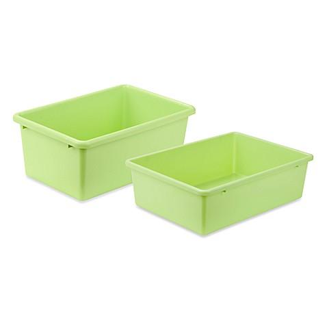 Honey can do plastic storage bin in light green bed for Green bathroom bin
