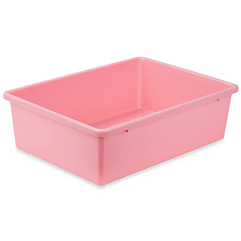 Buy honey can do large plastic storage bin in dark pink for Pink bathroom bin