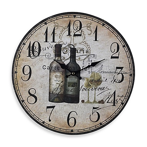 French Wine Bottles Wall Clock Bed Bath Amp Beyond