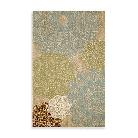 crochet indoor outdoor rug in aqua bed bath beyond. Black Bedroom Furniture Sets. Home Design Ideas