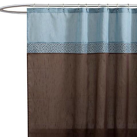 Geometric Blue Brown Fabric Shower Curtain