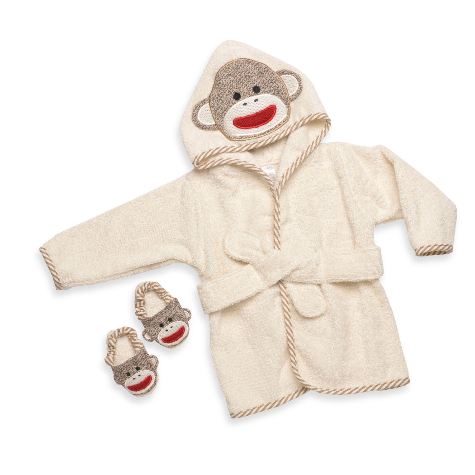 Baby Starters® Sock Monkey Bathrobe & Slippers Set in Cream