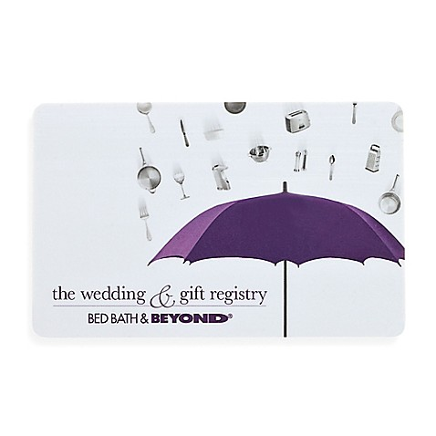 The wedding gift registry bridal shower gift card for Bed and bath wedding registry