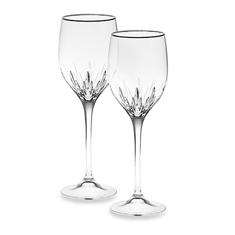 Buy vera wang wedgwood duchesse platinum crystal 14 ounce wine glass set of 2 from bed bath - Wedgwood crystal wine glasses ...