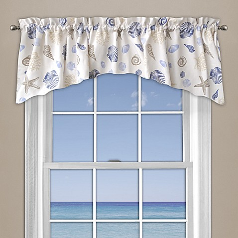 Seashore coral window curtain valance in blue bed bath beyond Bathroom valances for windows
