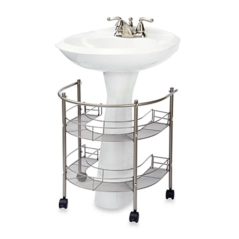 Rolling organizer for pedestal sink bed bath beyond for Bathroom under sink organizer