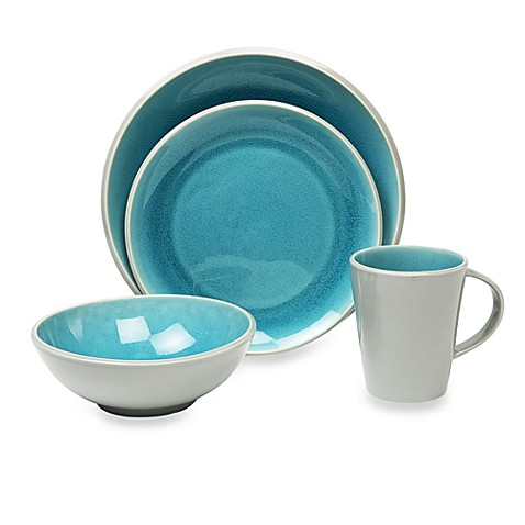 buy baum canvas crackle 16 piece dinnerware set in teal from bed bath beyond. Black Bedroom Furniture Sets. Home Design Ideas