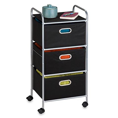 honey can do steel 3 drawer rolling fabric cart bed bath beyond. Black Bedroom Furniture Sets. Home Design Ideas