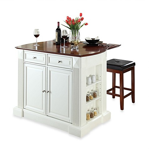 crosley drop leaf breakfast bar top kitchen island with cherry square seat stools bed bath. Black Bedroom Furniture Sets. Home Design Ideas