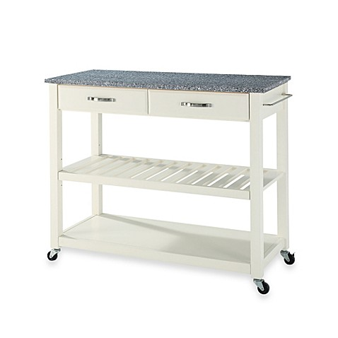 Buy Crosley Granite Top Kitchen Rolling Cart In White From