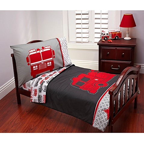CartersR Fire Truck 4 Piece Toddler Bedding Set