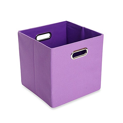 Modern littles color pop canvas folding storage bin in for Purple bathroom bin