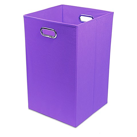 Modern littles color pop canvas folding laundry bin in for Purple bathroom bin