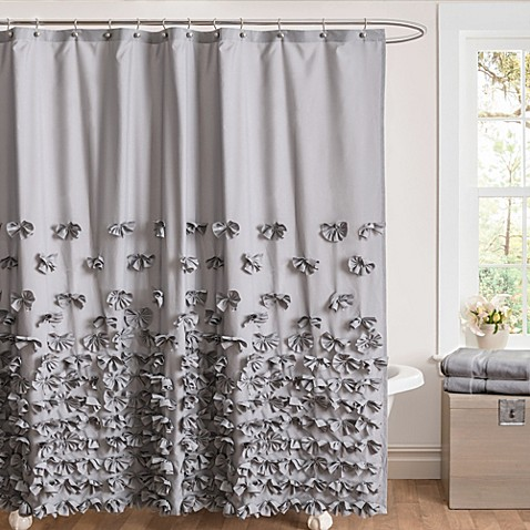 bow 72 inch x 84 inch shower curtain in grey from bed bath beyond
