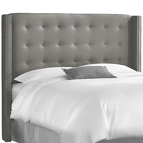 buy skyline furniture queen nail button tufted wingback headboard in linen grey from bed bath. Black Bedroom Furniture Sets. Home Design Ideas