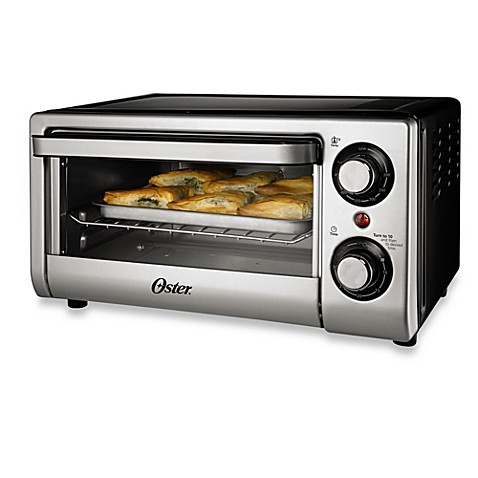 Oster 4 slice toaster oven in silver bed bath beyond for Oster toaster oven