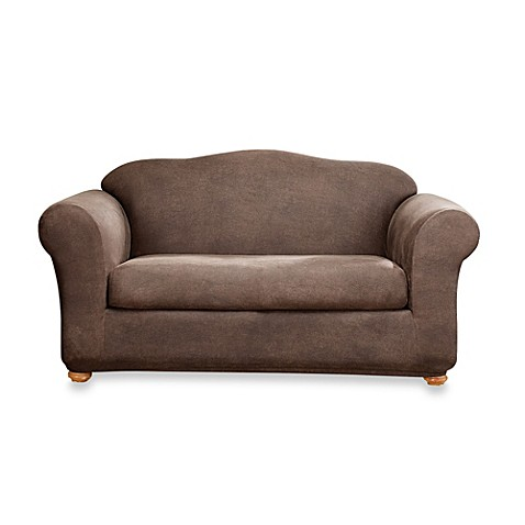 Sure Fit Two Piece Stretch Leather Sofa Slipcover In Brown Bed Bath Beyond