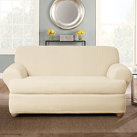 Buy Sure Fit Stretch Pinstripe 2 Piece T Cushion Loveseat Slipcover In Cream From Bed Bath Beyond
