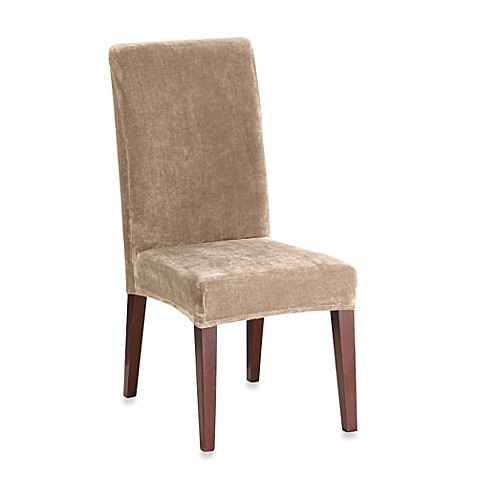 Buy sure fit stretch plush short dining room chair cover in sable from bed bath beyond - Plush dining room chairs ...