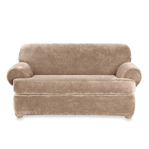 Buy Sure Fit Stretch Plush 2 Piece T Cushion Loveseat Slipcover In Sable From Bed Bath Beyond