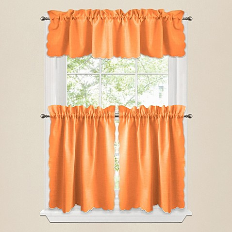 victoria window curtain tier pairs and valances in orange bed bath beyond. Black Bedroom Furniture Sets. Home Design Ideas