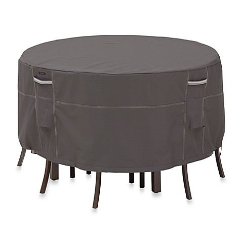 Classic Accessories® Ravenna Round Patio Table and Chair Set Cover in Dark Taupe at Bed Bath & Beyond in Cypress, TX | Tuggl
