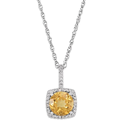 Sterling Silver Citrine and .015 cttw Diamond November